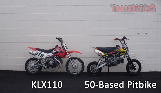 Size Comparison: KLX110 and 50-Based Pitbike
