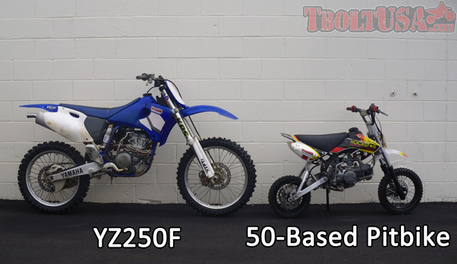 Size Comparison: YZ250F and 50 Based Pitbike