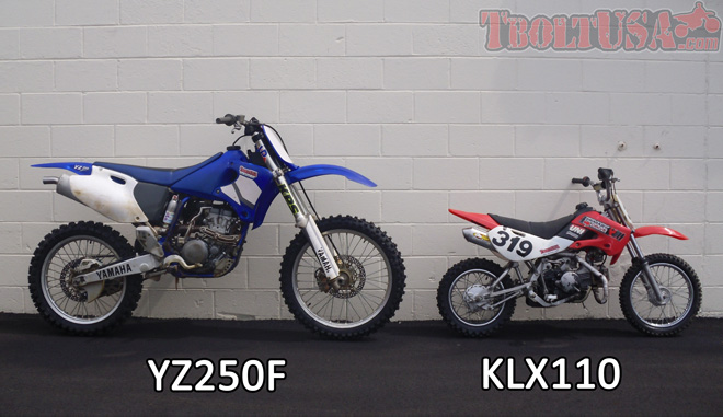 Size Comparison: YZ250F and KLX110