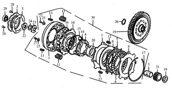 piranha - 140cc e-start clutch set - whs-4524
