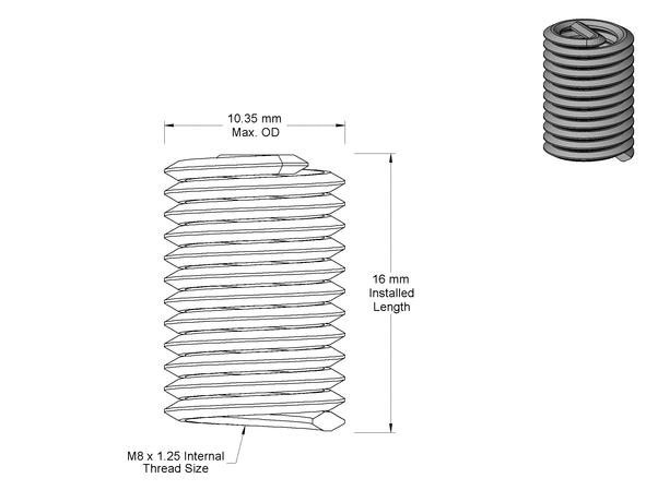 8mm helicoil insert - mmc-p1084-8en160 - hardware