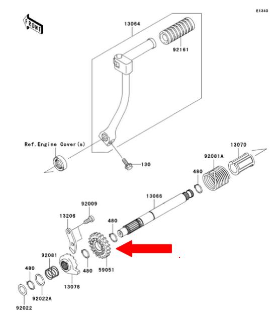 klx 110 kick starter gear-spur 22t - 59051-1404