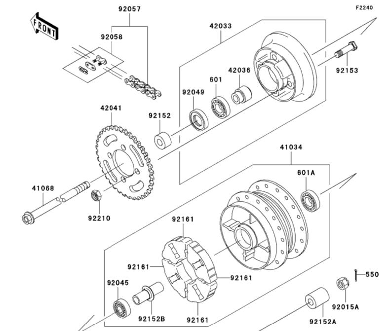 klx 110 and klx110l rear hub rubber damper