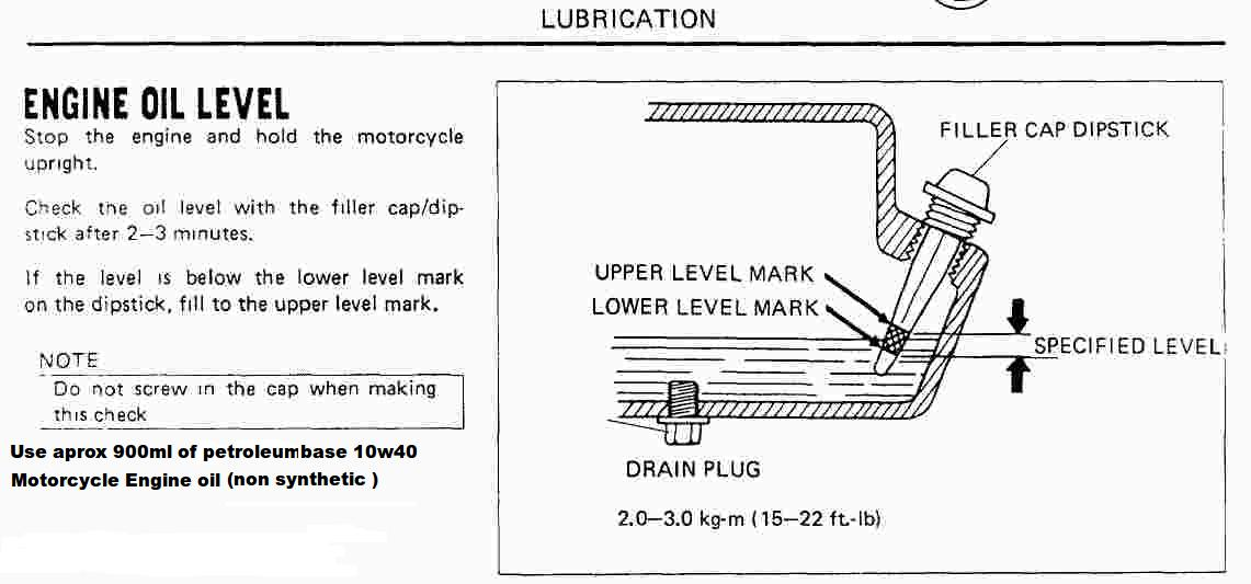 Pit bike Oil level check on oil wiring diagram